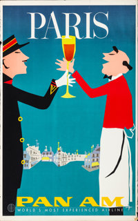 """Paris, France (Pan American Airways, c. 1960s). Rolled, Fine/Very Fine. Travel Poster (28"""" X 42"""") Aaron Fine A..."""