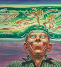 Kelly Freas (American, 1922-2005) Pipe Dream, If Science Fiction cover, February 1959 Acrylic on board 8.5 x 7.5 in