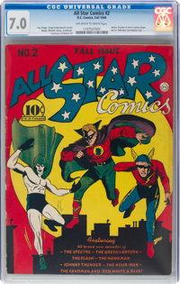All Star Comics #2 (DC, 1940) CGC FN/VF 7.0 Off-white to white pages
