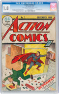 Golden Age (1938-1955):Superhero, Action Comics #7 (DC, 1938) CGC GD- 1.8 Slightly brittle pages....