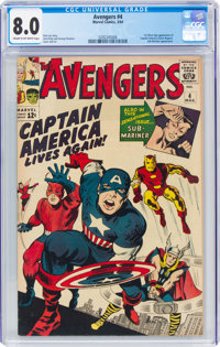 The Avengers #4 (Marvel, 1964) CGC VF 8.0 Cream to off-white pages