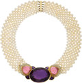 Estate Jewelry:Necklaces, Amethyst, Pink Tourmaline, Diamond, Cultured Pearl, Gold Necklace. ...