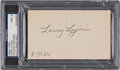 Baseball Collectibles:Others, 1950 Larry Lajoie Signed Index Card, PSA/DNA Mint 9....