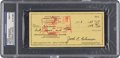 Baseball Collectibles:Others, 1969 Jackie Robinson Signed Check, PSA/DNA Mint 9....