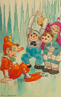 Johnny Gruelle (American, 1880-1938) The Skating Gander, Raggedy Ann in Cookie Land interior illustration</