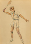 Works on Paper, James Montgomery Flagg (American, 1877-1960). Wimbledon Champion, circa 1940. Watercolor and pencil on board. 26-1/2 x 1...
