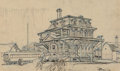 Works on Paper, Dean Cornwell (American, 1892-1960). Flemington, NJ Train Station. Ink and pastel on paper. 9-1/2 x 15 inches (24.1 x 38...