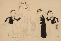 John Held Jr. (American, 1889-1958) Buy H.O. advertisement Ink on paper 8-1/2 x 12 inches (21.6 x