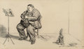 Works on Paper, Charles Dana Gibson (American, 1867-1944). All Alone. Ink on board. 13 x 20 in. (sight). Signed lower right. ...
