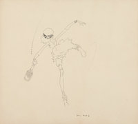 John Held Jr. (American, 1889-1958) The Tennis Player, book illustration Ink on board 10 x 11 in