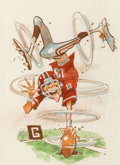 Works on Paper, Jack Davis (American, 1924-2016). Football Player. Watercolor on paper. 10 x 11 inches (25.4 x 27.9 cm) (sight). Signed ...