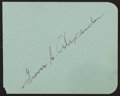 Autographs:Index Cards, Grover Cleveland Alexander Signed Album Page....