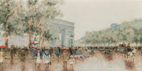 André Gisson (French/American, 1921-2003) Arc de Triumph Oil on canvas 12 x 24 inches (30.5 x 61