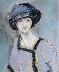 Marie Lucie Nessi (French, 1900-1992) Woman in Hat Pastel on paper 14 x 11 inches (35.6 x 27.9 cm