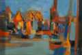 Fine Art - Painting, European:Contemporary   (1950 to present), Marcel Mouly (French, 1918-2008). Amsterdam, Vielles Maisons, 1971. Oil on canvas. 8-3/4 x 13 inches (22.2 x 33.0 cm). S...