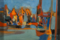 Marcel Mouly (French, 1918-2008) Amsterdam, Vielles Maisons, 1971 Oil on canvas 8-3/4 x 13 inches