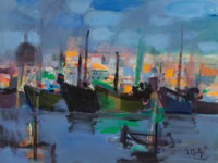 Marcel Mouly (French, 1918-2008) Le port de Malte, 1985 Gouche on paper 22 x 29 inches (55.9 x 73