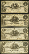 Confederate Notes:1861 Issues, T36 $5 1861 PF-2 Cr. 274 Four Examples Very Fine or Better.. ... (Total: 4 notes)