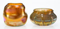 Art Glass, Two Tiffany Studios Favrile Glass Vases, circa 1920. Marks: L.C.T. Favrile, 6-1132, paper factory label. 3-1/2 x 4 x 4 i... (Total: 2 Items)