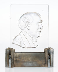 A Steuben Glass and Chromed Metal Thomas Edison Plaque Luminar, designed 1929 Marks: STEUBEN, (fleur-de
