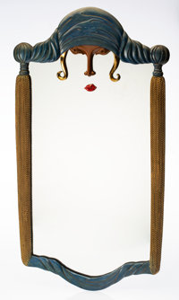 An Erté Cold Painted Bronze Scheherazade Wall Mirror, 1985 Marks: 1985, R K PA