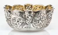A Whiting Mfg. Co. Partial Gilt Silver Repoussé Bowl, Providence, Rhode Island, late 19th century Marks: (W-griff...