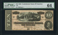 Confederate Notes:1864 Issues, T68 $10 1864 PF-15 Cr. 545 PMG Choice Uncirculated 64.. ...