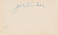 Baseball Collectibles:Others, 1940's Joe Tinker Signed Index Card....