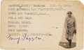 Baseball Collectibles:Others, 1920's Tony Lazzeri Signed Index Card....