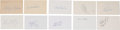 Autographs:Index Cards, 1950's-2010's Baseball Stars Signed Index Cards Lot of 44....