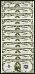 Small Size:Silver Certificates, Fr. 1651 $5 1934A Mule Silver Certificates. Eleven Consecutive Examples. Choice Crisp Uncirculated.. ... (Total: 11 notes)
