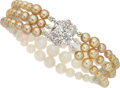 Estate Jewelry:Bracelets, Natural Pearl, Cultured Pearl, Diamond, White Gold Bracelet, French. ...