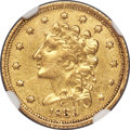 Classic Quarter Eagles, 1839-C $2 1/2 -- Cleaned -- NGC Details. AU. Breen-6150, Winter-2, Variety 22, R.4....