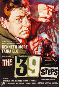 """The 39 Steps & Other Lot (Rank, 1959). Folded, Overall: Fine/Very Fine. British One Sheet (27"""" X 40"""") &..."""