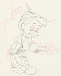 Animation Art:Production Drawing, Pinocchio Vintage Animation Drawing (Walt Disney, 1940). . ...