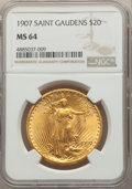Saint-Gaudens Double Eagles, 1907 $20 MS64 NGC....