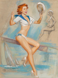K.O. (Knute) Munson (American, 20th Century) First Mate Pastel on paper 30-1/2 x 23 inches (77.5