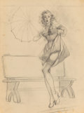 """Fine Art - Work on Paper, Gil Elvgren (American, 1914-1980). """"I've Been Spotted"""" calendar preliminary, 1948. Charcoal on tracing paper. 24 x 17-3/..."""