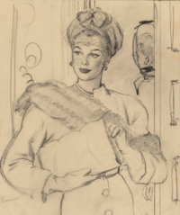 """Gil Elvgren (American, 1914-1980) """"I Think I'm Starting to get Pretty Good at this Marriage Game"""" magazine int..."""