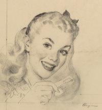 Gil Elvgren (American, 1914-1980) Dr. West's Miracle Tuft Tooth Brush advertisement preliminary Char