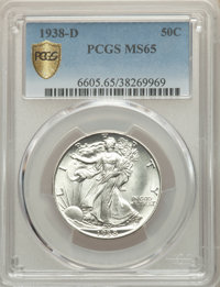 1938-D 50C MS65 PCGS Secure. PCGS Population: (932/549 and 29/62+). NGC Census: (390/131 and 3/14+). CDN: $825 Whsle. Bi...