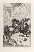 Prints:Contemporary, Salvador Dalí (1904-1989). St. George and the dragon, 1947. Etching on J. Whatman wove paper. 17-5/8 x 11-1/4 inches (44...