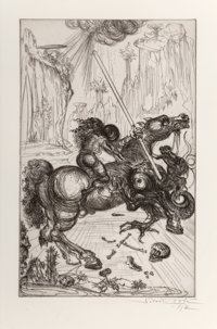 Salvador Dalí (1904-1989) St. George and the dragon, 1947 Etching on J. Whatman wove paper 17-5/8 x 11-1/4 inches...