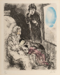 Marc Chagall (1887-1985) Jacob blessing Joseph's sons, from Bible, 1956 Etching with hand coloring on Arches paper