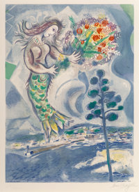 After Marc Chagall By Charles Sorlier Sirène au pine, from Nice et la Côte d'Azur, 1967 Lithograph in color...