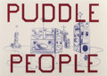 Prints:Contemporary, Ed Ruscha and Kenny Scharf. Puddle People, 2016. Lithograph in colors on wove paper. 22 x 30-3/4 inches (55.9 x 78.1 cm)...