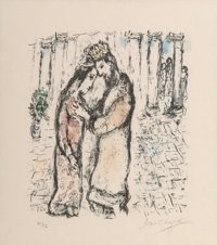 Marc Chagall (1887-1985) David et Bethsabeé, 1979 Lithograph in colors on Japon paper 13-3/4 x 11-3/4 inches (34...