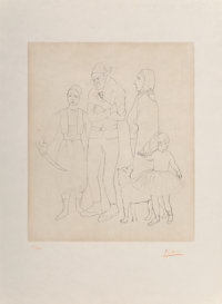 After Pablo Picasso Famille des saltimbanques, c. 1950 Etching on japon nacré paper 19-1/2 x 16-