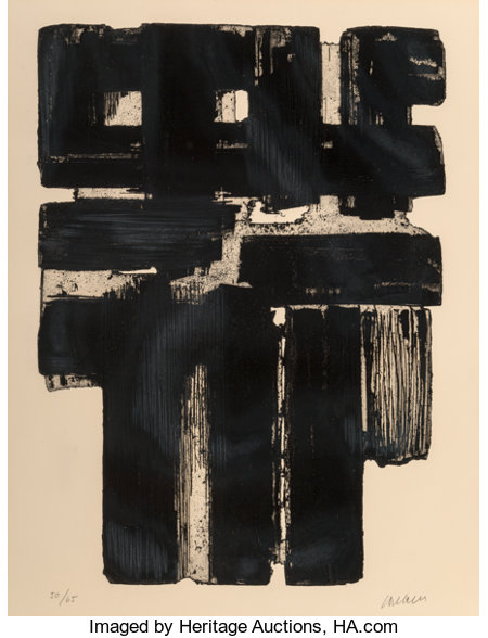 Pierre Soulages (b. 1919)Eau-forte no. 10 B, 1957Etching on Arches paper30 x 22-1/2 inches (76.2 x 57.2 cm) (sheet...
