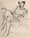 Fine Art - Work on Paper:Print, Richard Diebenkorn (1922-1993). Seated Woman in a Striped Dress, from Seated Woman, 1965. Lithograph on Arches paper...